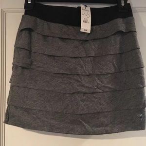Grey cotton tiered mini skirt